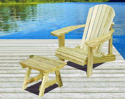 Outdoor wood furniture - adirondack loveseat and chair