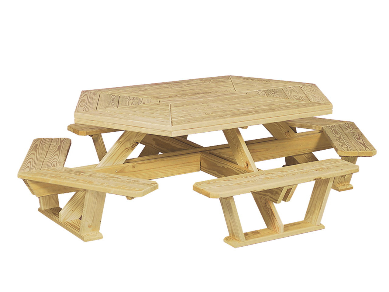 Outdoor wood furniture - hexagon table with benches