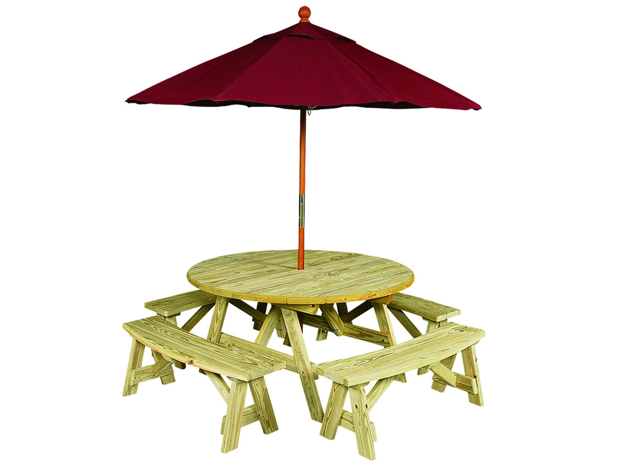 Outdoor furniture - round wood picnic table