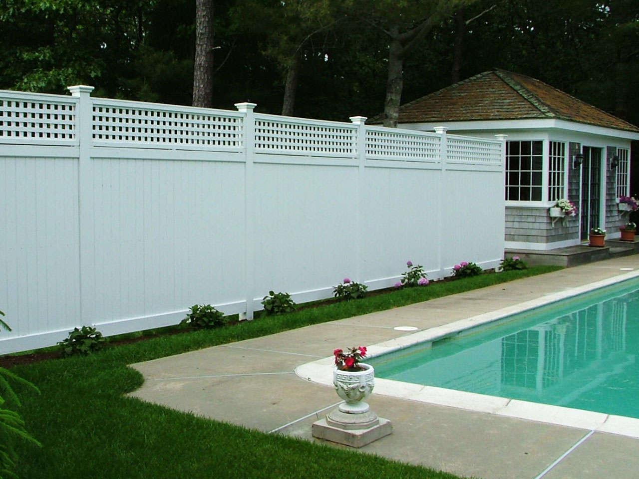 Privacy tongue groove board fence cape cod fence company vinyl privacy fence with lattice topper cape cod baanklon Choice Image
