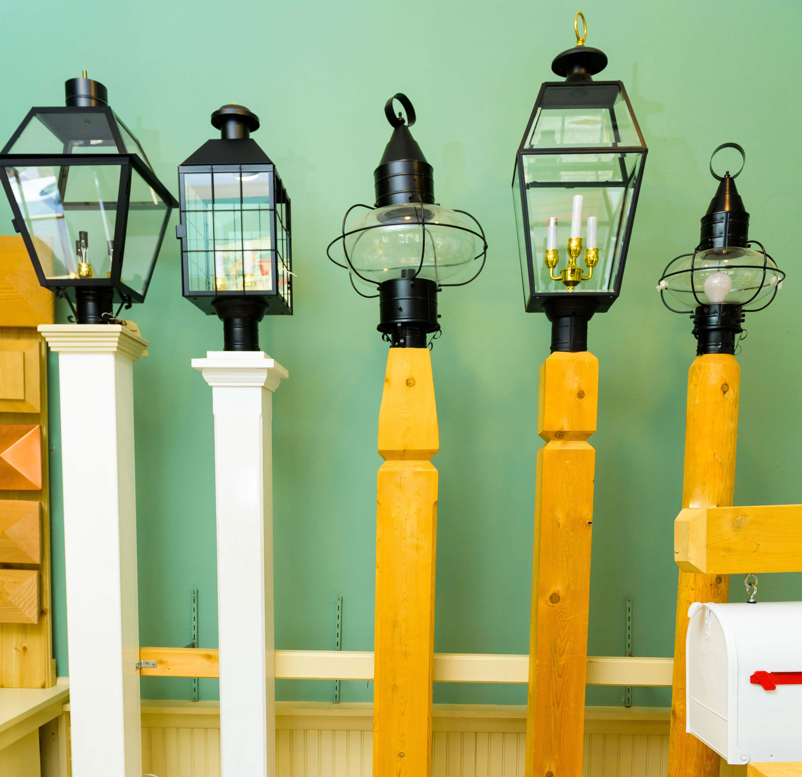 wooden and pvc lamp posts